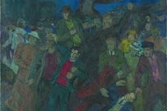 Endel Kõks. 1905.a. südmusi (Tallinna Uuel turul). 1941. Õli, lõuend. 55,5x60,5