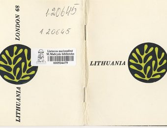 The cover of the catalogue and the plan of the Lithuanian pavilion, presented on pages 4–5 of the catalogue LITHUANIA. LONDON '68, designed by Antanas Kazakauskas, 1968