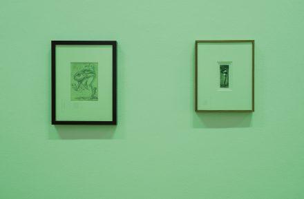 Left: Ülo Sooster. Surrealist Drawing. 1955. Right: Pierre Molinier. Autoportrait. c. 1960. Photo: Karel Koplimets, Tallinn Art Hall