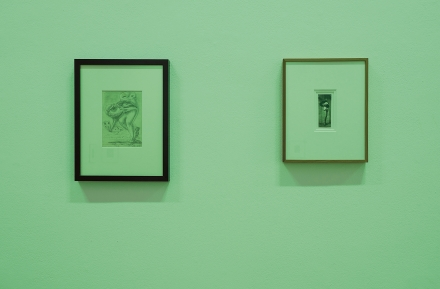 Left: Ülo Sooster. Surrealist Drawing. 1955. Right: Pierre Molinier. Autoportrait. c. 1960. Photo: Karel Koplimets, Tallinn Art Hall
