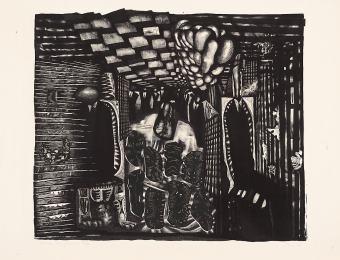 Peeter Ulas. Restaurant. 1968. Lithography. Art Museum of Estonia