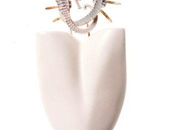 Tanel Veenre_Forever Together_brooch_seahorses, wood, gilded silver