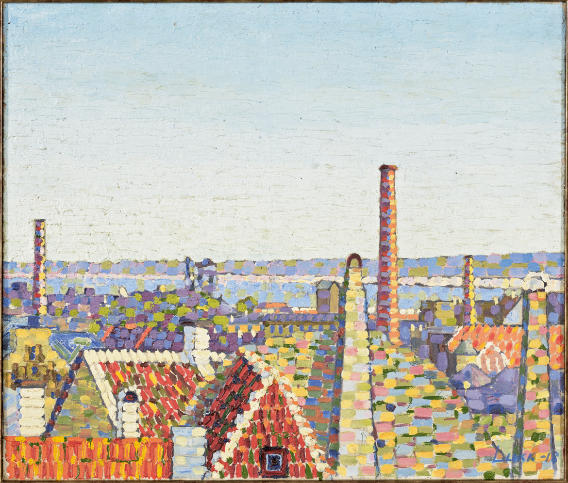 View over Tallinn towards the harbour (View of Tallinn). 1918. Oil,  canvas. 60 × 70 cm.  Art Museum of Estonia.