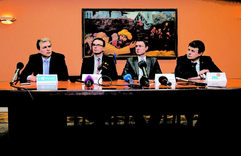 : KOALITSIOONI LÄBIRÄÄKIMISED, TAAVI RÕIVAS, SVEN MIKSER, URMAS REINSALU, ANDRES HERKEL :TALLINN, EESTI, 10MAR15  Koalitsiooni läbirääkimised.   lt/Foto LIIS TREIMANN/POSTIMEES