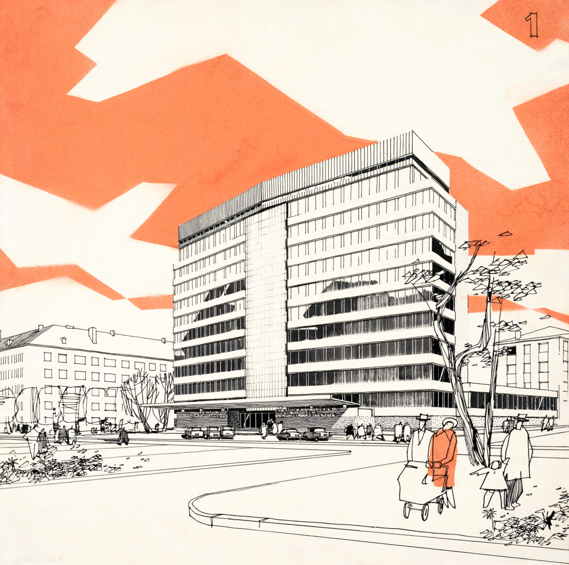 Estonian Communist Party central committee building (now the Foreign Ministry) in Tallinn. Architects Mart Port, Uno Tölpus, Raine Karp, Olga Kontšajeva. Perspective view by Rein Kersten, 1963. Ink, acrylic, felt-tip, cardboard. EAM 4.3.2