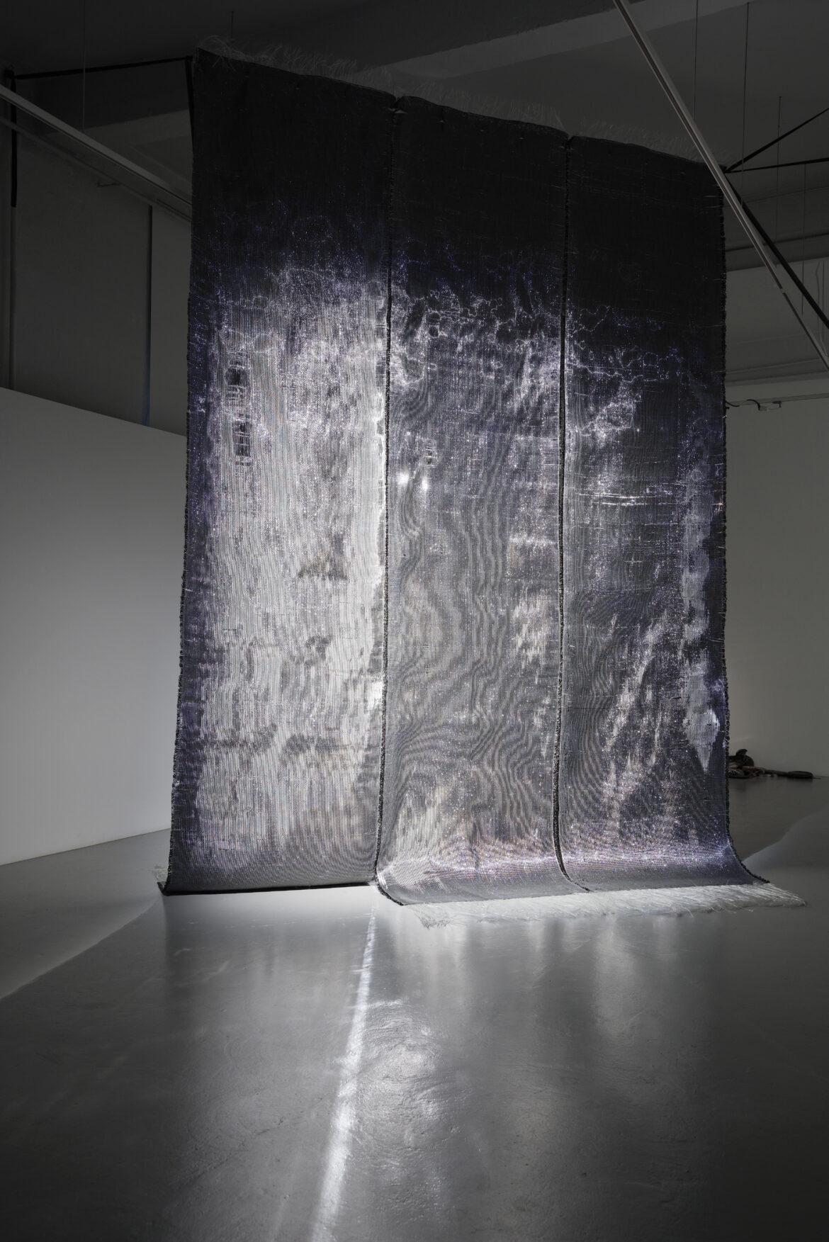 """""""Save As"""" woven installation by Kärt Ojavee and Johanna Ulfsak at Temnikova & Kasela Gallery in Tallinn (2018)"""