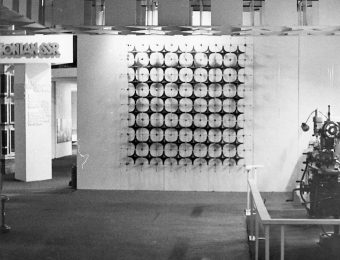 Fragment of the The Lithuanian SSR pavilion with amber panel at the 1968 Soviet Union Industry and Trade Exhibition in London, designed by Tadas Baginskas. Photo: from his private archive